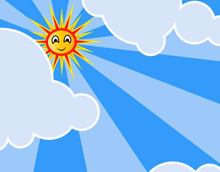 illustration of bright sun and rays in cloudy sky illustration