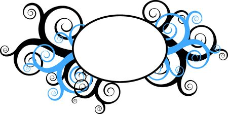bue: Round frame surrounded by decorative bue and black swirls Stock Photo
