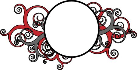 Round frame surrounded by decorative red swirls photo