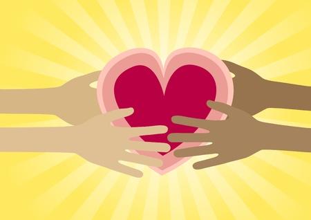 generosidad: Compasivo manos del coraz�n compartido