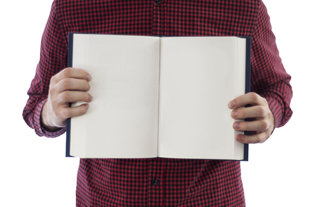 open hands: Man holding open book isolated on white Stock Photo