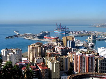malaga: Harbor and the city Stock Photo