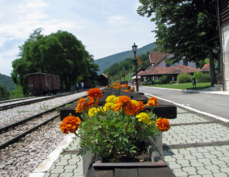 railway station in the mountains Stock Photo