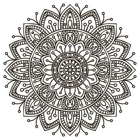 paganism: Mandala. Round Ornament Pattern. Vintage decorative elements. Illustration