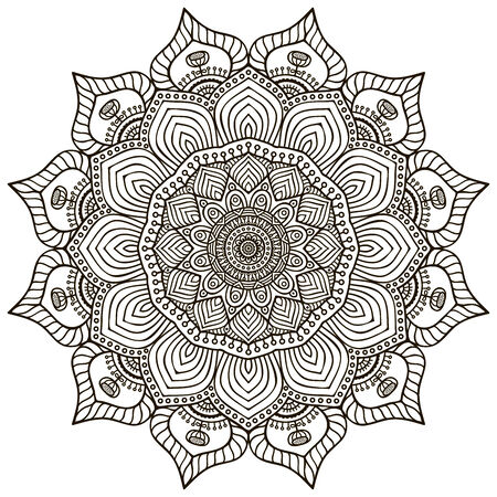 paganism: Mandala. Round Ornament Pattern. Vintage decorative elements. Hand drawn background. Islam, Arabic, Indian, ottoman motifs. Illustration