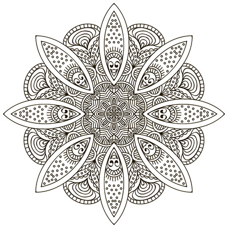 paganism: Mandala. Ethnic decorative elements. Hand drawn background. Islam, Arabic, Indian, ottoman motifs.
