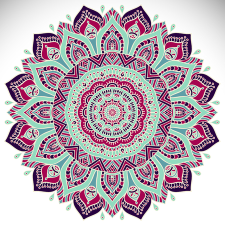Mandala. Etnische decoratieve elementen. Hand getekende achtergrond. Islam, Arabisch, Indisch, poef motieven.
