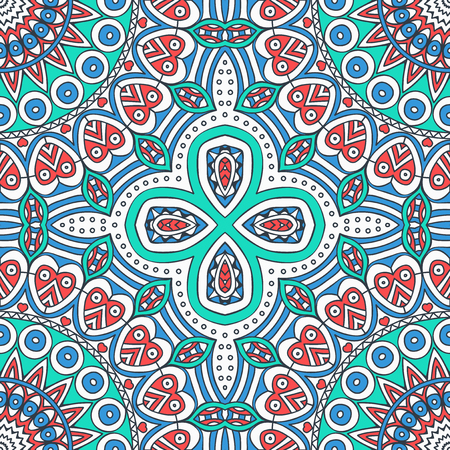 Vintage decorative elements in ethnic style. Seamless pattern