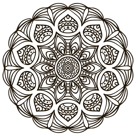 Mandala. Round Ornament Pattern. Vintage decorative elements. Hand drawn background Vector
