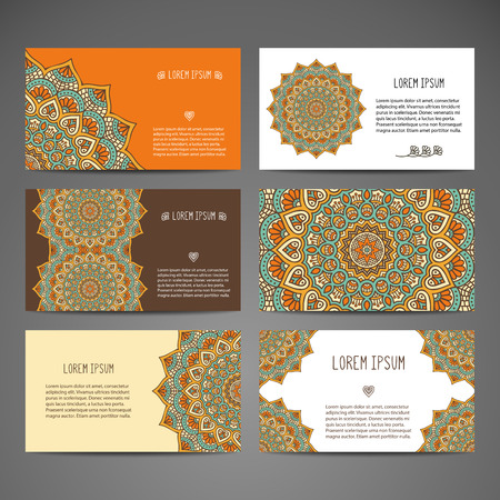 Business card. Vintage decorative elements. Hand drawn background Çizim
