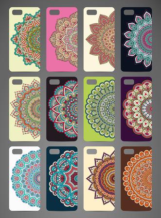 携帯電話ケース デザイン。ヴィンテージの装飾的な要素。手描きの背景