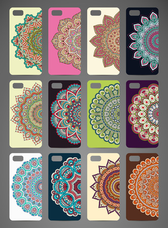 Phone case design. Vintage decorative elements. Hand drawn background Çizim