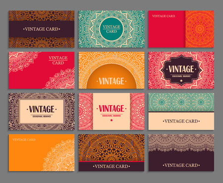 Business card. Vintage decorative elements. Hand drawn background Ilustracja