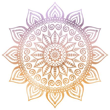 marcos redondos: Vector de la mandala. Ornamento redondo en estilo étnico. Dibujar a mano