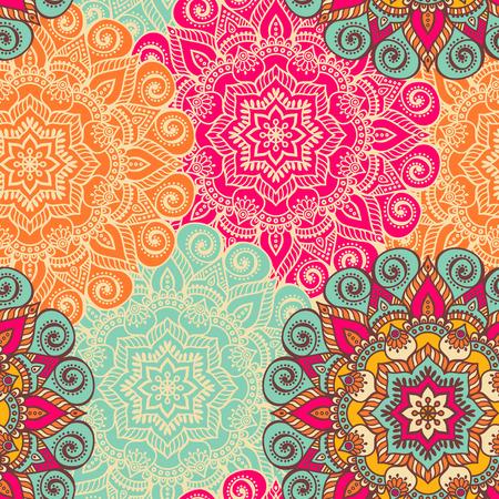 Vector de la mandala. Ornamento redondo en estilo étnico. Dibujar a mano Foto de archivo - 41542551
