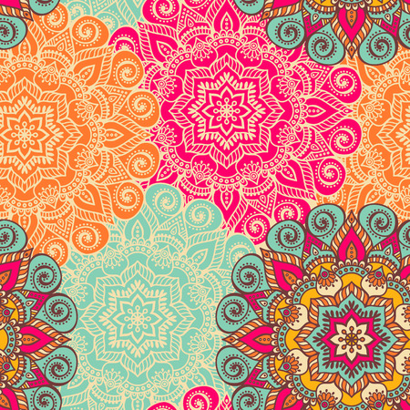 abstract seamless: Vector Mandala. Round ornament in ethnic style. Hand draw