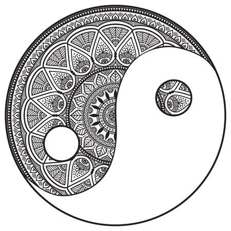 Vector Mandala. Round ornament in ethnic style. Hand draw 版權商用圖片 - 41542555