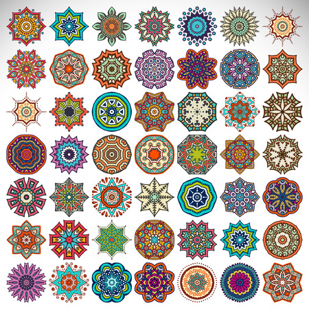 circle flower: Vector Mandala. Round ornament in ethnic style. Hand draw