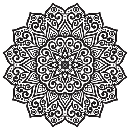 arabesque antique: Vector Mandala. Round ornament in ethnic style. Hand draw