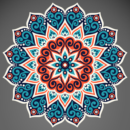 Vector Mandala. Round ornament in ethnic style. Hand draw 版權商用圖片 - 41542856