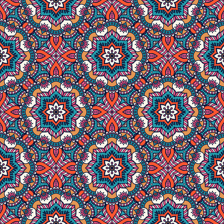 Ethnic floral seamless pattern. Abstract ornamental pattern Vectores