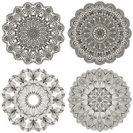 Round vector ornament in ethnic style. Hand draw Illustration