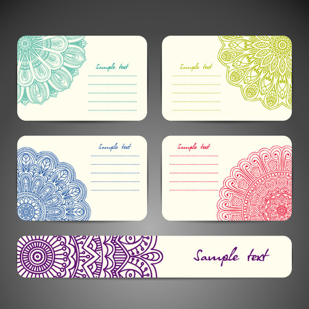 Business card collection in ethnic style. Hand draw