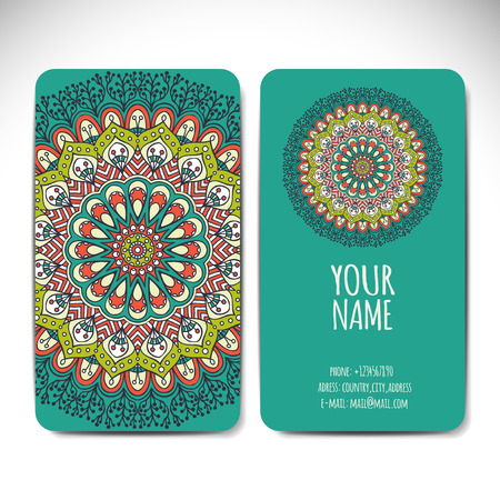 wedding decoration: Business card collection in ethnic style. Hand draw