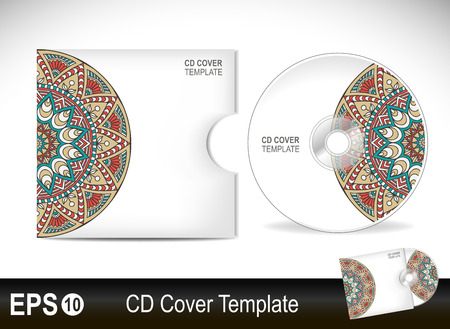 cd cover: Cd cover design template.Vector illustration in ethnic style