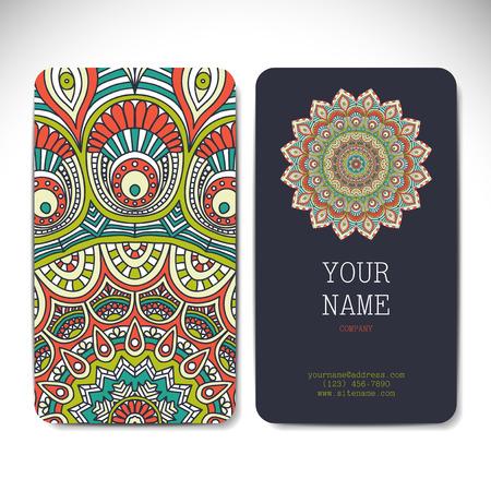 marcos redondos: Colección de tarjetas de negocios en estilo étnico. Dibujar a mano