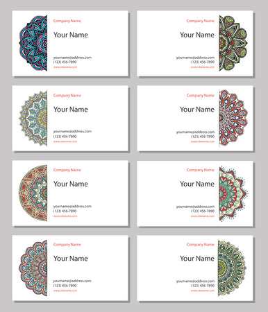 indian fabric: Business card collection in ethnic style. Hand draw