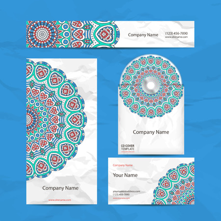 indian yoga: Business card collection in ethnic style. Hand draw