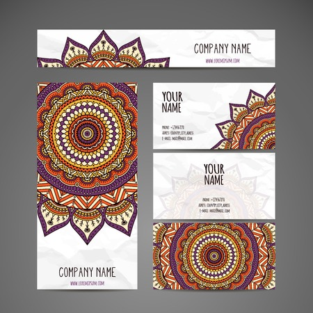 model motive: Business card collection in ethnic style. Hand draw