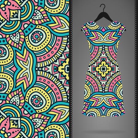 model motive: Ethnic floral seamless pattern. Abstract ornamental pattern Illustration