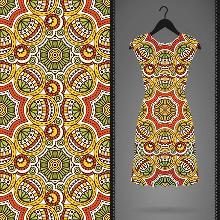 background abstraction: Ethnic floral seamless pattern. Abstract ornamental pattern Illustration