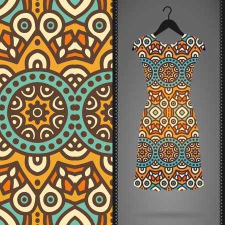 textile design: Ethnic floral seamless pattern. Abstract ornamental pattern Illustration