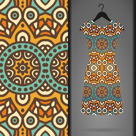 henna design: Ethnic floral seamless pattern. Abstract ornamental pattern Illustration