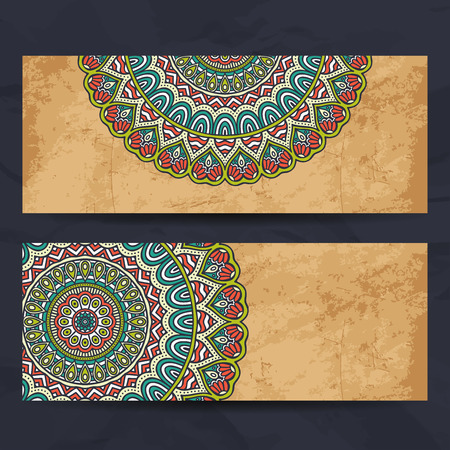 indian wedding: Business card collection in ethnic style. Hand draw