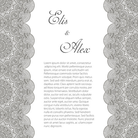 ornate frame: Invitation card with lace ornament. Hand draw background