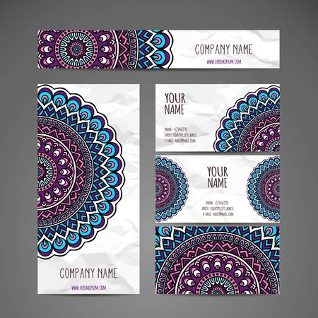 arabic: Business card collection in ethnic style. Hand draw