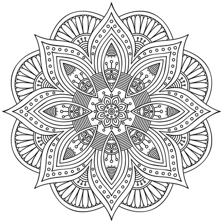 Round vector ornament in ethnic style. Hand draw Çizim