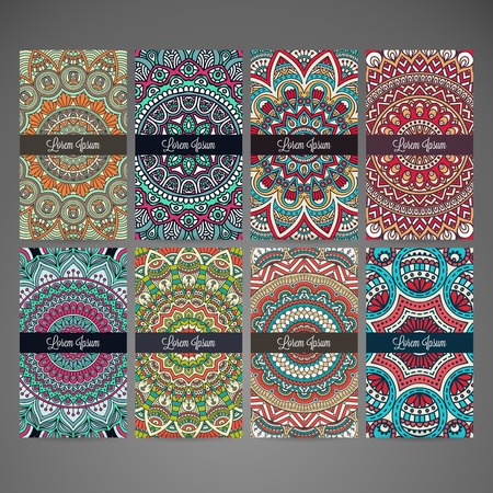 model: Business card collection in ethnic style. Hand draw