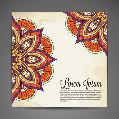 east indian: Invitation card with lace ornament. Hand draw background
