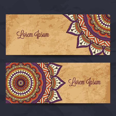 arabic frame: Business card collection in ethnic style. Hand draw