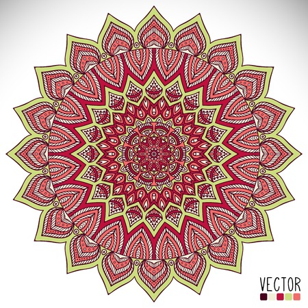 mandala background: Round vector ornament in ethnic style. Hand draw Illustration