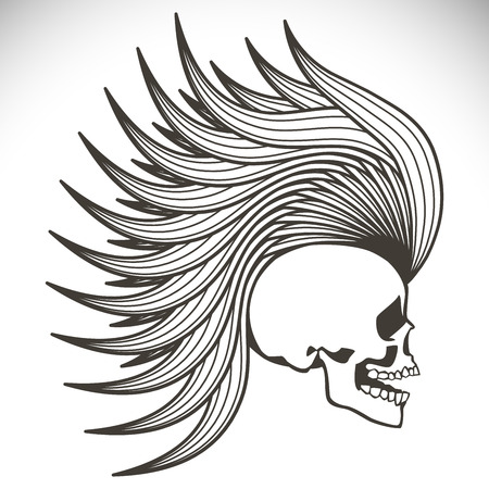 decrepit: Black  human skull with a lower jaw. Illustration