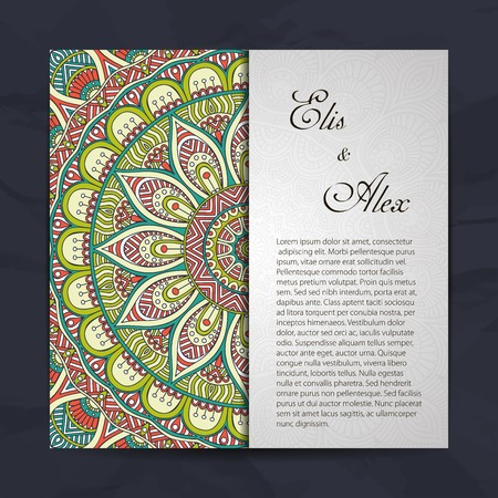 festive background: Invitation card with lace ornament. Hand draw background