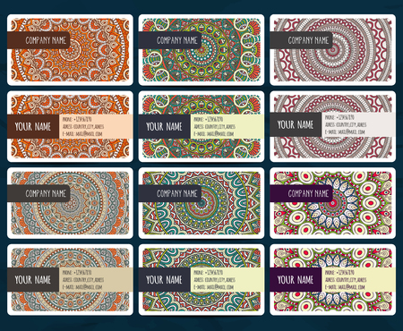web site design template: Business card collection in ethnic style. Hand draw