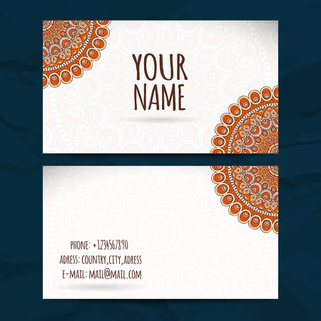 background cover: Business card collection in ethnic style. Hand draw