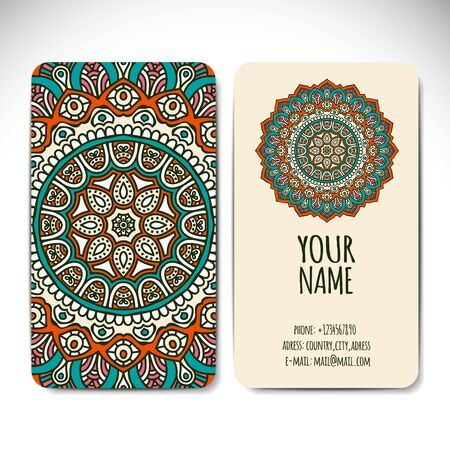 motif pattern: Business card. Vintage decorative elements. Hand drawn background Illustration